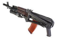 卡拉什尼科夫与GP-25枪榴弹发射器的AK 74 免版税图库摄影