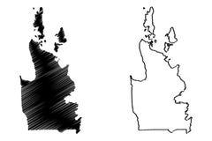卡拉加区地区地图传染媒介 皇族释放例证