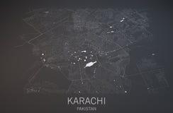 卡拉奇,巴基斯坦,卫星看法地图  免版税库存照片