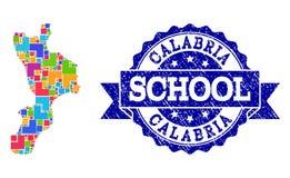 卡拉布里亚地区和难看的东西学校邮票拼贴画军用镶嵌地图  向量例证