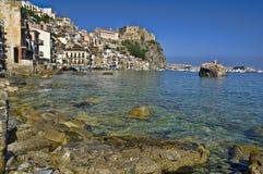 卡拉布里亚(意大利)的Scilla老渔村 免版税图库摄影