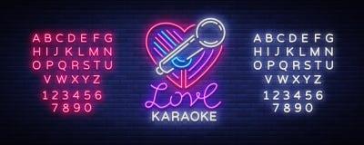 卡拉OK演唱在霓虹样式的爱商标 霓虹灯广告,明亮的每夜的霓虹广告卡拉OK演唱 轻的横幅,明亮的夜 库存例证