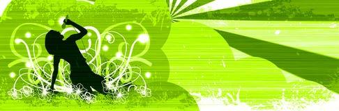 卡拉OK演唱女孩 免版税库存照片
