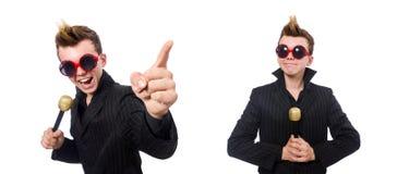 卡拉OK演唱概念的唱歌的人 免版税库存照片