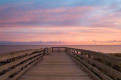 卡文迪许海滩的木板走道 免版税图库摄影