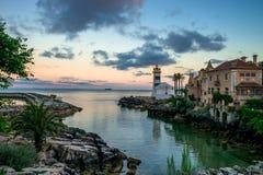 卡斯卡伊斯、葡萄牙-圣玛尔塔灯塔和博物馆& x28; Farol Mus 免版税库存照片