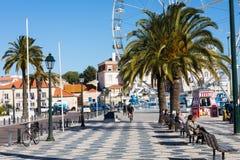 卡斯卡伊斯,葡萄牙- 2018年1月19日:Casca海边都市风景  库存图片