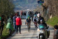 卡斯泰尔拉伊蒙多,意大利- 2015年3月15日:专业骑自行车者 库存图片