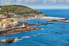 卡斯泰尔萨尔多村庄在撒丁岛,意大利 免版税库存照片
