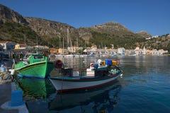卡斯特龙岛megisti口岸, dodecanese的希腊海岛 图库摄影