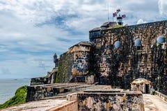 卡斯蒂略圣费利佩台尔Morrro,老圣胡安,波多黎各 免版税库存照片