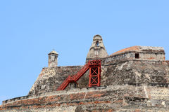 卡斯蒂略圣费利佩堡垒在卡塔赫钠,哥伦比亚 免版税库存照片