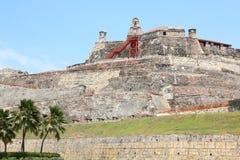 卡斯蒂略圣费利佩堡垒在卡塔赫钠,哥伦比亚 免版税库存图片