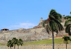 卡斯蒂略圣费利佩堡垒在卡塔赫钠,哥伦比亚 免版税图库摄影