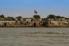 卡斯蒂略圣费利佩de巴拉哈斯是一个堡垒在市卡塔赫钠,哥伦比亚。 免版税库存图片
