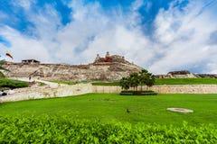 卡斯蒂略圣费利佩de巴拉哈斯是一个堡垒在市卡塔赫钠 免版税库存照片