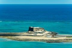 卡斯蒂略de圣加百利-圣加布里埃尔城堡鸟瞰图在阿雷西费 库存照片