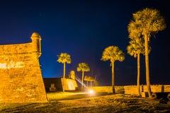 卡斯蒂略de圣马科斯在晚上,在圣奥斯丁,佛罗里达 图库摄影