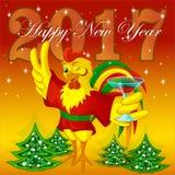 贺卡新年 闪光在红色和服的雄鸡拿着一块玻璃 免版税库存图片