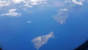 卡普里和阿马尔菲海岸意大利海岛的鸟瞰图  免版税库存图片