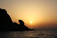卡普里岛日落视图意大利 免版税库存图片