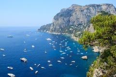卡普里岛海岛,意大利鸟瞰图  免版税图库摄影