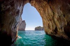 卡普里岛蓝色洞穴 库存图片