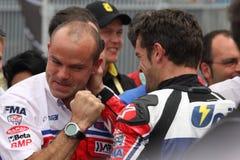 卡洛斯・ Checa - Ducati 1098R -蜀癸属植物赛跑 库存照片