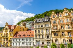 卡洛维变化卡尔斯巴德市中心,捷克 免版税库存图片