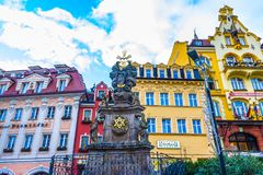 卡洛维变化, Cszech共和国- 2018年1月01日:三位一体的柱子,卡洛维变化-捷克 免版税图库摄影
