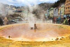 卡洛维变化, Cszech共和国- 2018年1月01日:有温泉城的喷泉 免版税库存照片