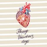 卡片为华伦泰以心脏的抽象解剖学的形式` s天 免版税库存图片