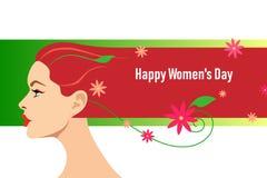 卡片为3月8日妇女的天 有把变成一条平直的重线的头发的独特和风格化女性头,补全由花, 向量例证