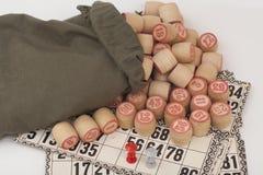 卡片和小桶俄国乐透纸牌宾果游戏比赛的 免版税库存照片