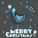 卡片圣诞快乐和鸟 免版税库存照片