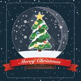 卡片圣诞快乐树玻璃球 向量例证