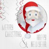 卡片圣诞老人圣诞节2015年-例证丝带 免版税图库摄影