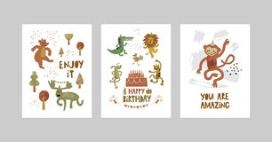 卡片或海报设置与逗人喜爱的动物,鳄鱼,麋,熊,猴子,豹子,狮子,在动画片样式的狗 向量例证
