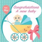 卡片新出生的男婴。 免版税库存照片