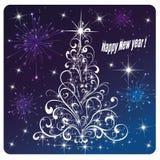卡片新年快乐烟花和烟花 库存照片
