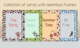 卡片明信片框架的汇集由无缝的样式做成 免版税图库摄影
