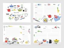 卡片模板的汇集做的笔记关于食物的准备 装饰的空白的食谱书或菜谱页 皇族释放例证