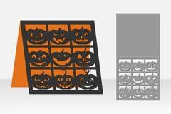 卡片激光切口的万圣夜南瓜 剪影设计 免版税库存照片