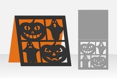 卡片激光切口的万圣夜南瓜 剪影设计 库存照片