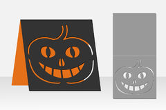 卡片激光切口的万圣夜南瓜 剪影设计 免版税库存图片
