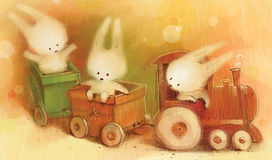 卡片用乘玩具火车去的小的野兔 免版税库存照片