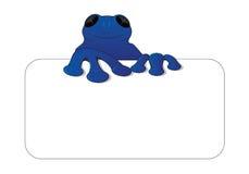 卡片的蓝色青蛙/壁虎ontop 免版税库存照片