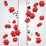 卡片芯片赌博娱乐场啤牌 向量例证