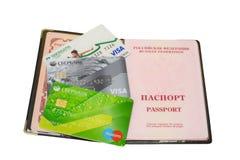 卡片被隔绝的Sberbank护照 免版税库存图片