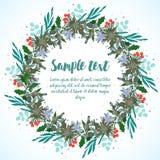 卡片设计与圣诞节花圈的 库存图片